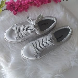 Silver Satin JustFab Rayne Sneakers Size 8